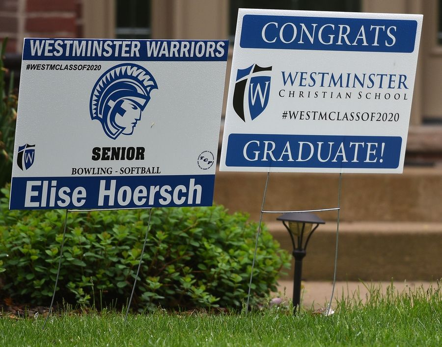 Westminster Christian School 2020 graduate sign is displayed at a senior's home.
