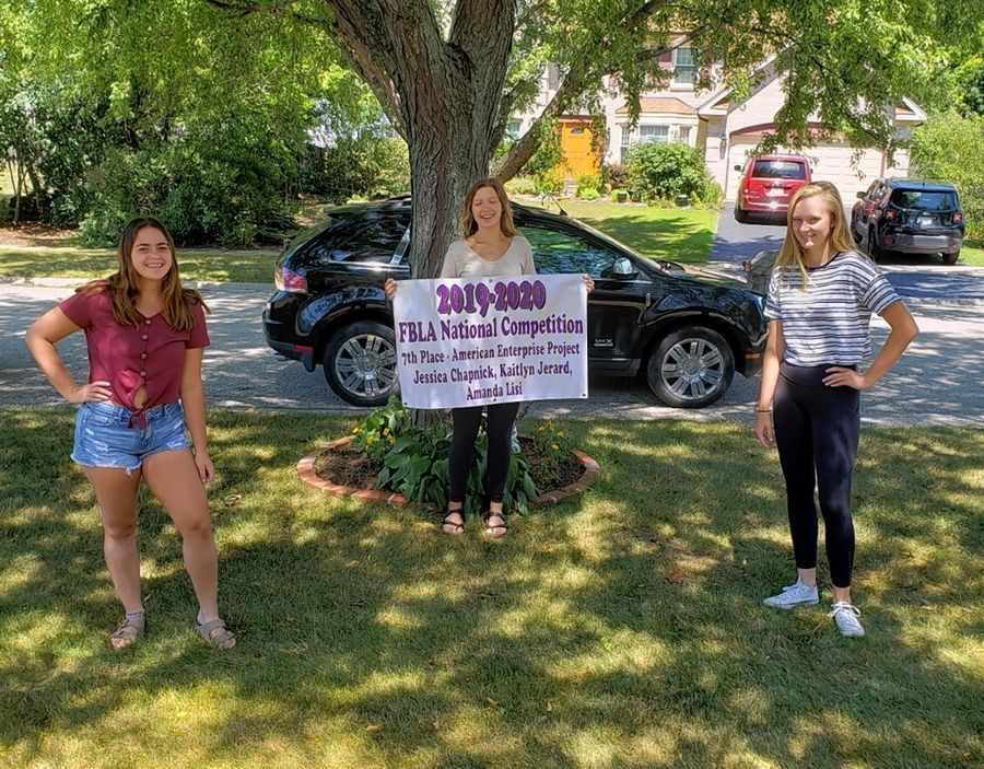 Jessica Chapnick, Kaitlyn Jerard and Amanda Lisi won seventh place in American Enterprise Project at the recent FBLA National Virtual Competition.