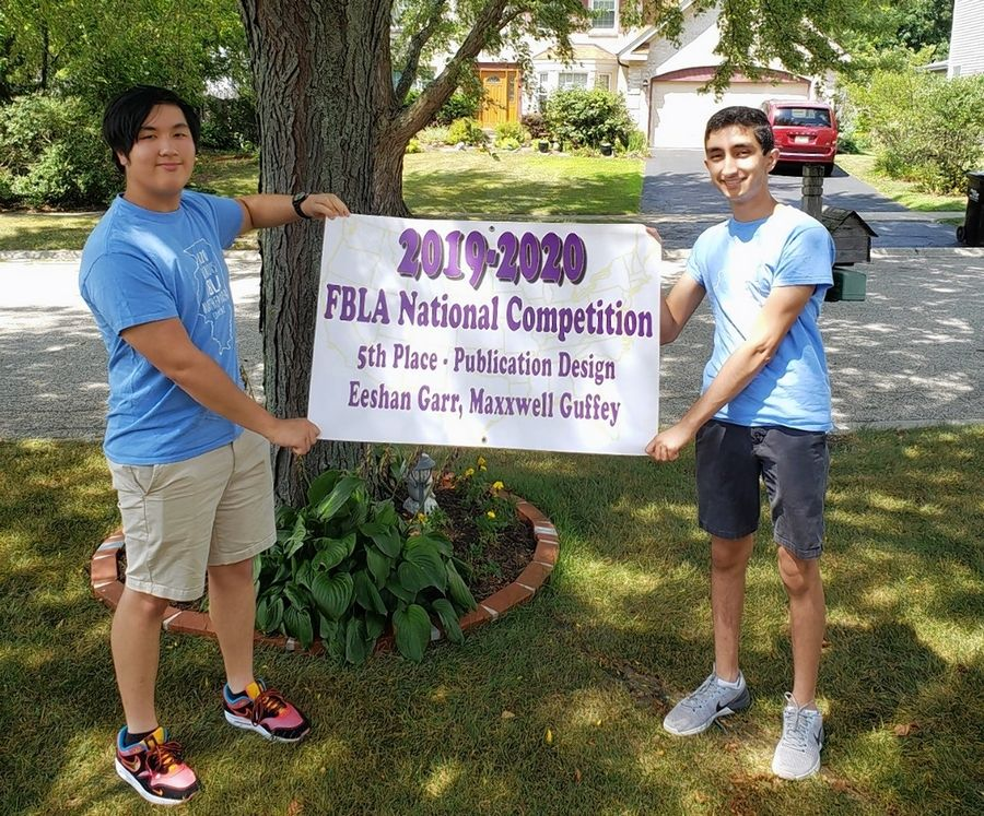 Maxxwell Guffey and Eeshan Garr won fifth place in publication design at the recent FBLA National Virtual Competition.
