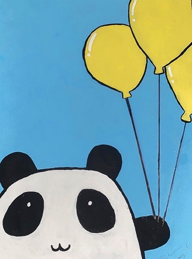 "A panda holding balloons by Brianna Senesoury, 12, of Grayslake, a sixth-grader at Woodland Middle School in Gurnee. ""It's something that really makes her happy. It was really reflective of her personality,"" said art teacher Kelly Eggleston."