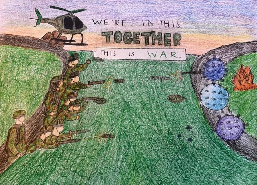 "This pencil drawing by Natalie LaMartin, 13, a seventh-grader at Deer Path Middle School in Lake Forest depicts coronavirus as the ""invisible enemy."" ""I wanted to incorporate this into my artwork to show how we are all united in this war against COVID-19."""
