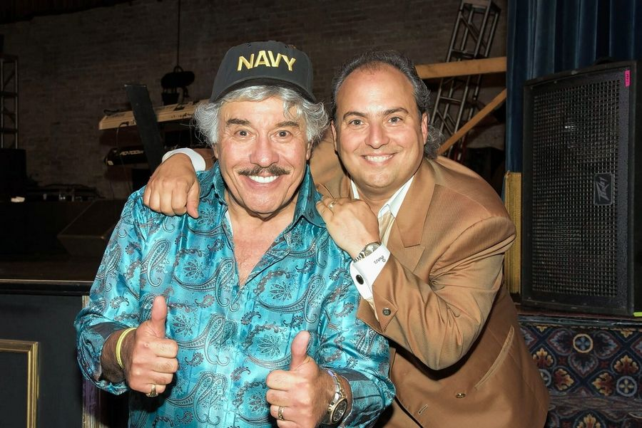 "Singer Tony Orlando, left, joins Ron Onesti before an appearance at the Arcada Theatre. His song ""Tie a Yellow Ribbon Round the Ole Oak Tree"" helped get the country through several difficult periods."