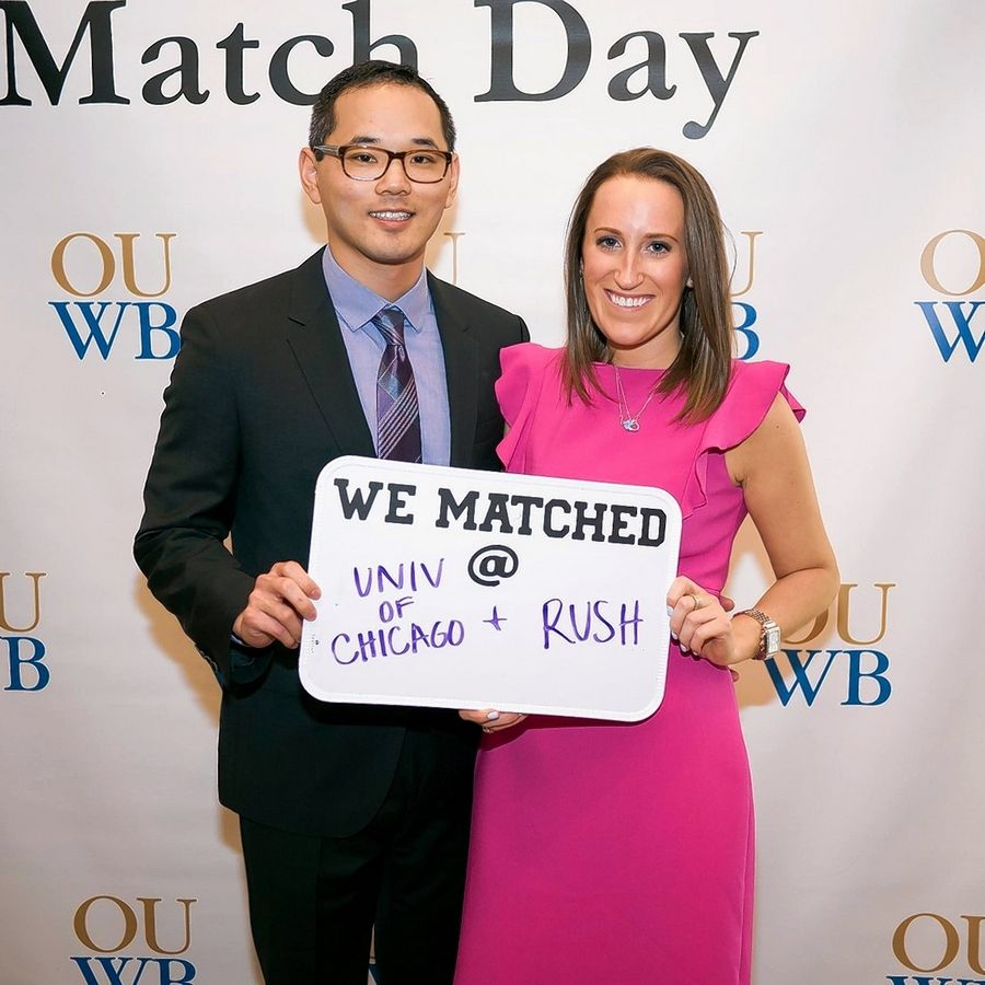 Drs. Jonathan Fergus and Lauren Singer say they were fortunate to both be matched with residencies in Chicago. The couple planned to get married this year, but have been forced to scrap two wedding dates because of COVID-19.