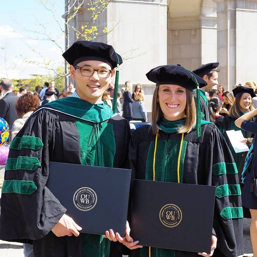 Having met at the Oakland University William Beaumont School of Medicine in Auburn, Michigan, Buffalo Grove native Dr. Lauren Singer celebrates their 2017 graduation with Dr. Jonathan Fergus. The couple have had two wedding dates canceled this year by COVID-19.