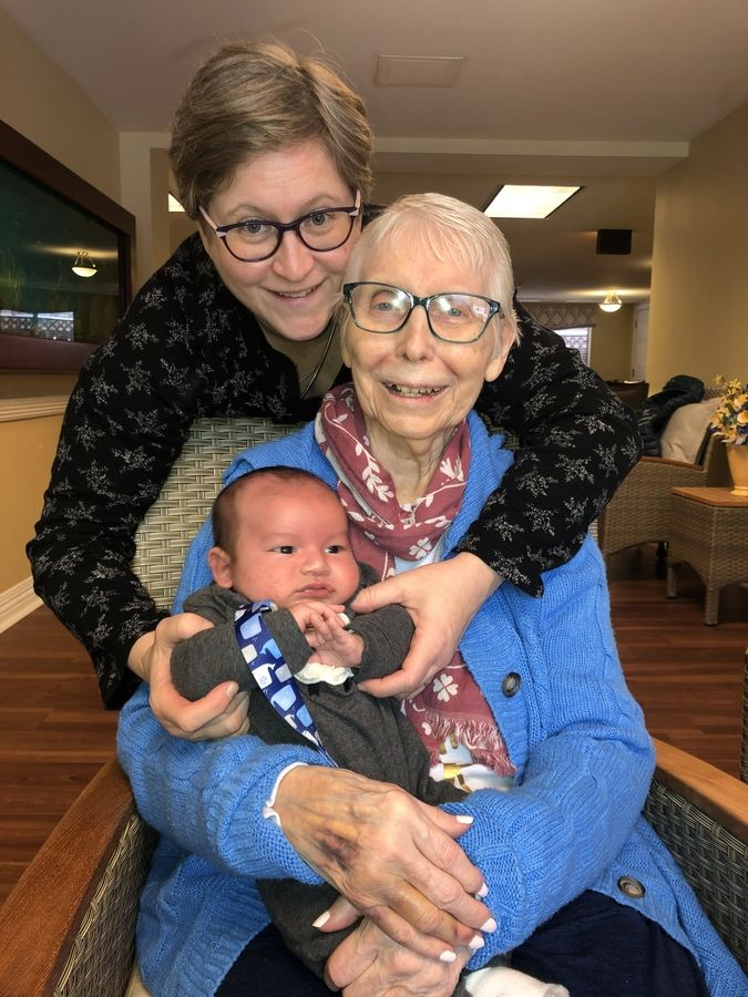 Julie Hanson and her son visit new grandma Geraldine Hanson on her 86th birthday in January.