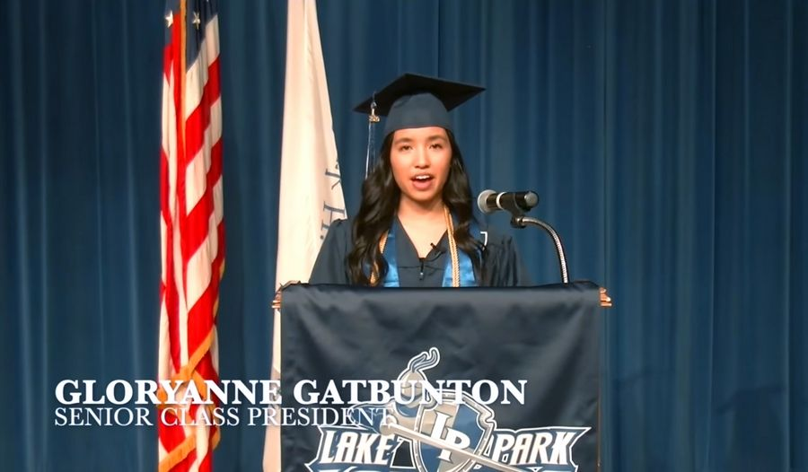 Lake Park High School senior Gloryanne Gatbunton addressed her fellow graduates in a 2020 virtual commencement ceremony.