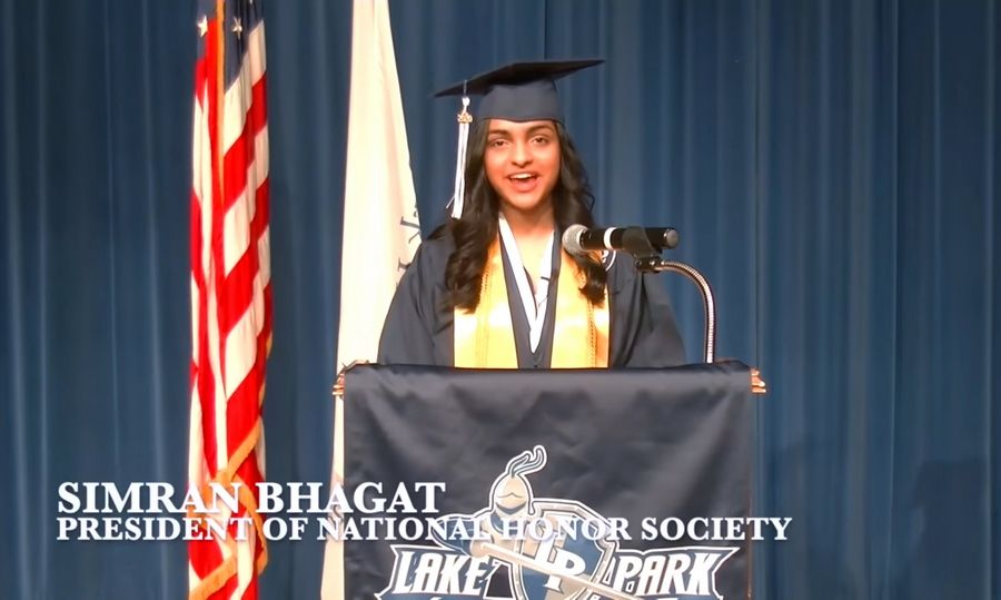 Lake Park High School senior Simran Bhagat addressed her fellow graduates in a 2020 virtual commencement ceremony.