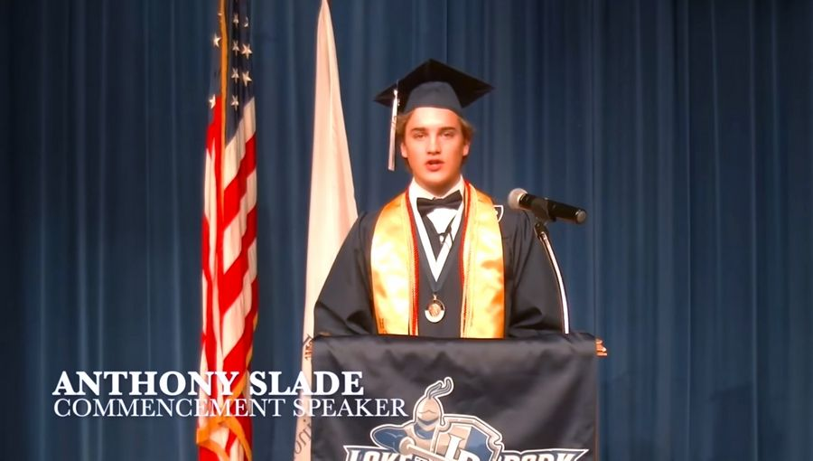 Lake Park High School senior Anthony Slade addressed his fellow graduates in a 2020 virtual commencement ceremony.