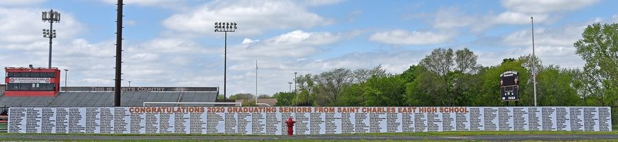 A banner honoring the St. Charles East High School 2020 graduates.