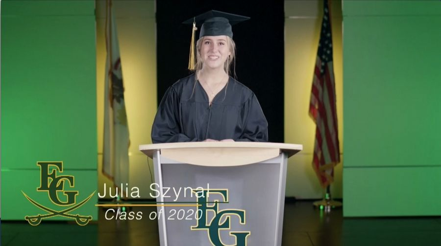 Elk Grove High School senior speaker Julia Szynal addressed the 2020 graduating class in a virtual commencement ceremony.