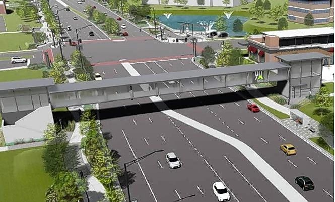 A proposed pedestrian bridge over Meacham Road in Schaumburg, sporting the area's new 90 North District branding, is among the ways officials hope to bring together the major redevelopments on the east and west sides of the road just north of the I-90 tollway.