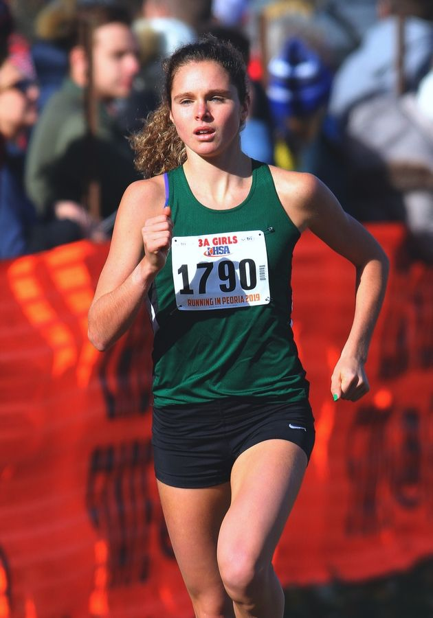 Glenbard West's Katelynne Hart runs in the Class 3A state cross country race at Detweiller Park.