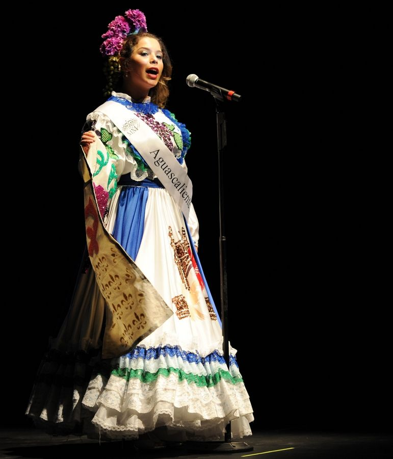 Jasmine Perezchica, a senior at Glenbard West High School, competes in the Miss Mexican Heritage contest at the Frida Kahlo 2020 exhibition held at the College of DuPage's McAninch Arts Center.
