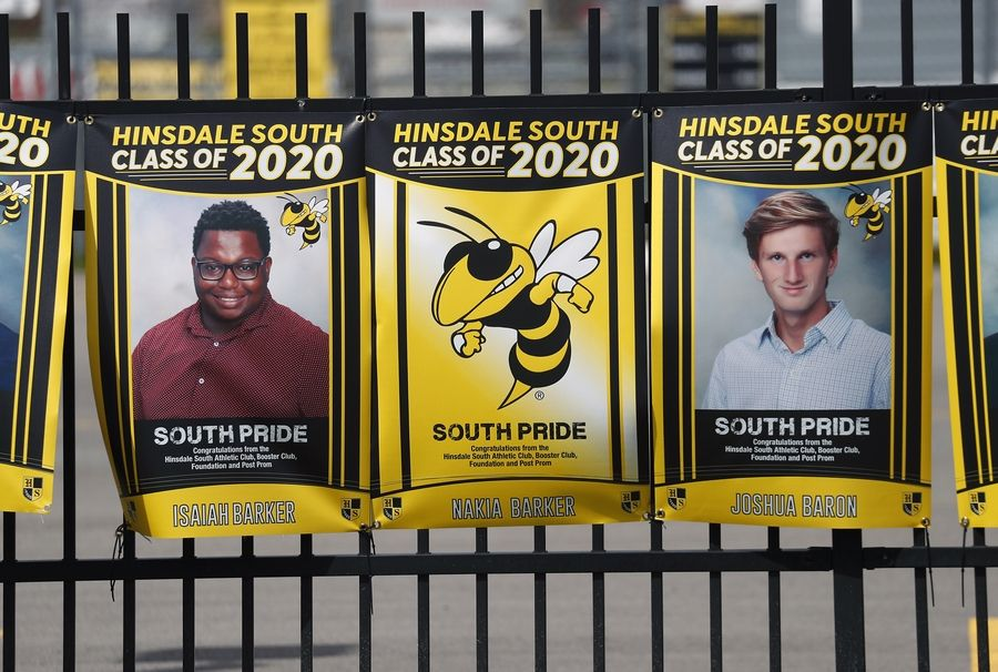 Hinsdale South's foundation, post-prom committee, and booster and athletic clubs put up poster-size photos of the Class of 2020.
