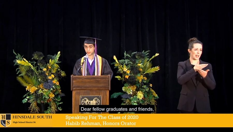 Habib Rehman was a senior speaker in Hinsdale South's 2020 virtual graduation ceremony.