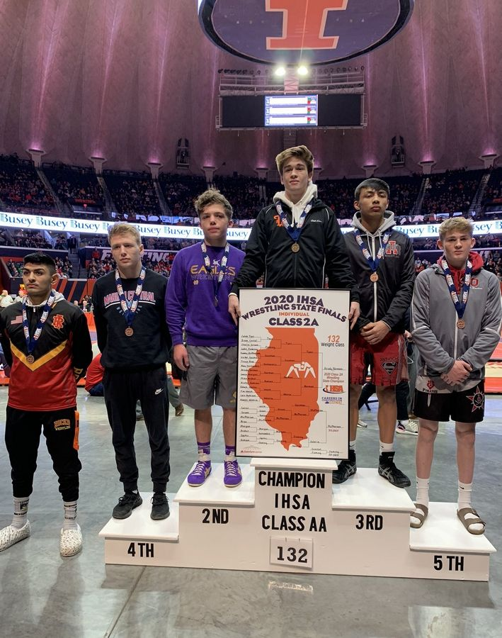 Marian Central Catholic's Daniel Valeria won 4th place in the 132-pound class of the Class 2A IHSA state wrestling meet this year in Champaign.