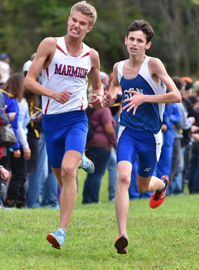 Marmion Academy's Anthony Zangler competes in a cross country meet.