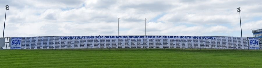 A banner honoring the St. Charles North High School 2020 graduates.