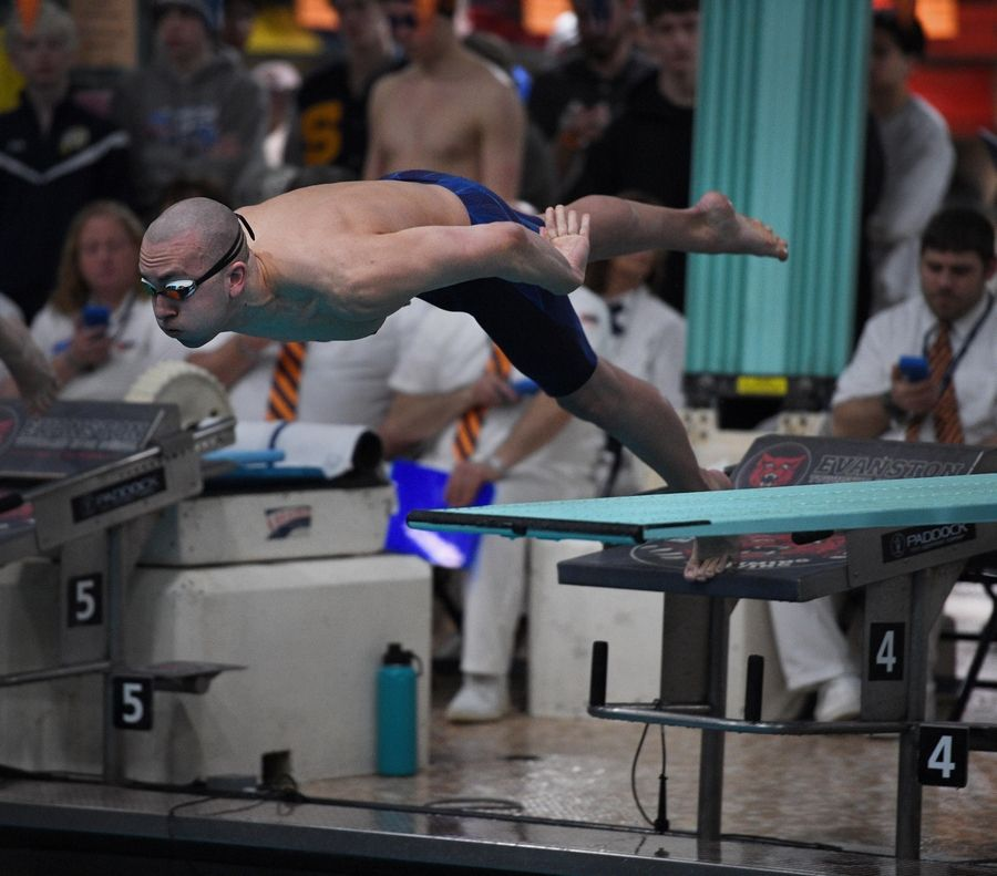 St. Charles North's Ricky Williams competes in the 200-yard freestyle in the at the IHSA state boys swimming final.