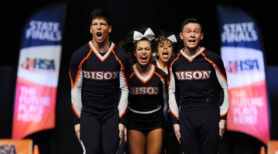 Buffalo Grove High School cheerleaders compete in state finals in Bloomington.