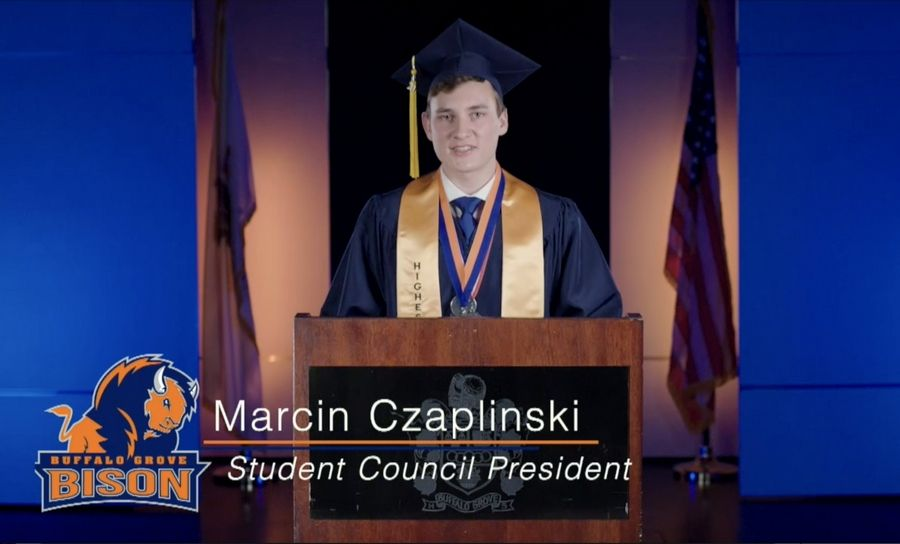 Buffalo Grove High School senior speaker Marcin Czaplinski addressed the 2020 graduating class in a virtual commencement ceremony.