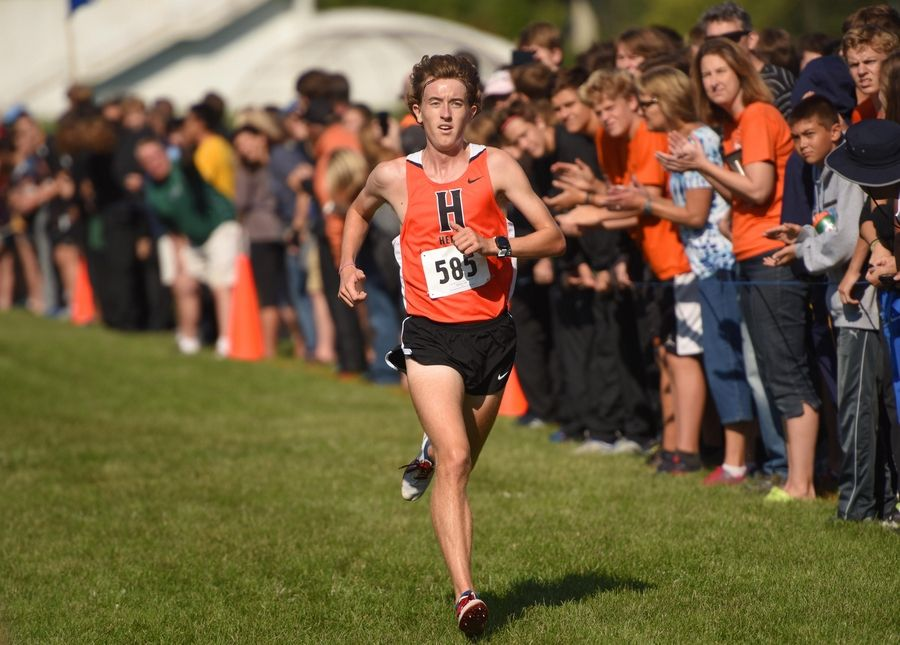 Hersey's Josh Methner wins the boys varsity race by more than 12 seconds at the Early Bird Invitational cross country meet at Fenton High School in Bensenville.