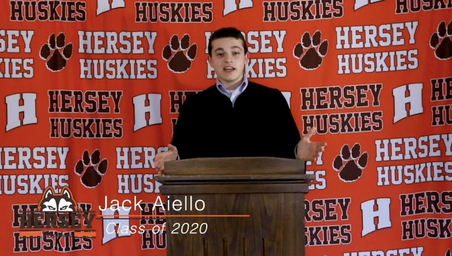 Hersey High School senior speaker Jack Aiello addressed the 2020 graduating class in a virtual commencement ceremony.