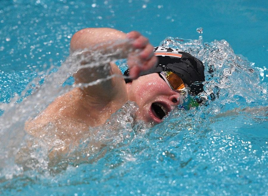 Hersey's Noah Thomas competes in the athletes with disabilities 200-yard freestyle at the IHSA state boys swimming final in Evanston.