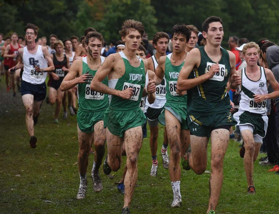 York's Daniel Klysh, front left (8697), moves to take the lead in the boys varsity race of the Palatine Cross Country Invitational.