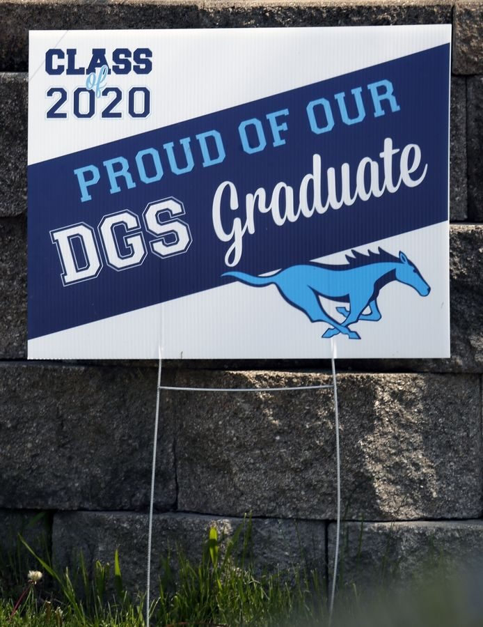 Graduation sign for Downers Grove South High School.