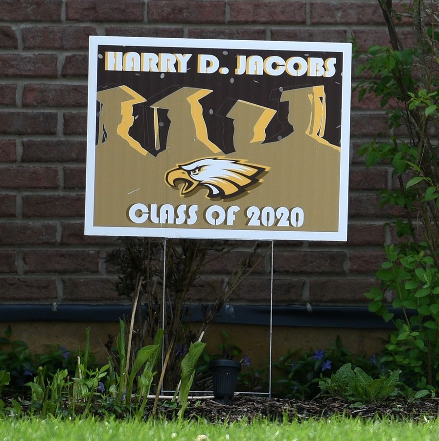 Jacobs High School Class of 2020 graduation sign.