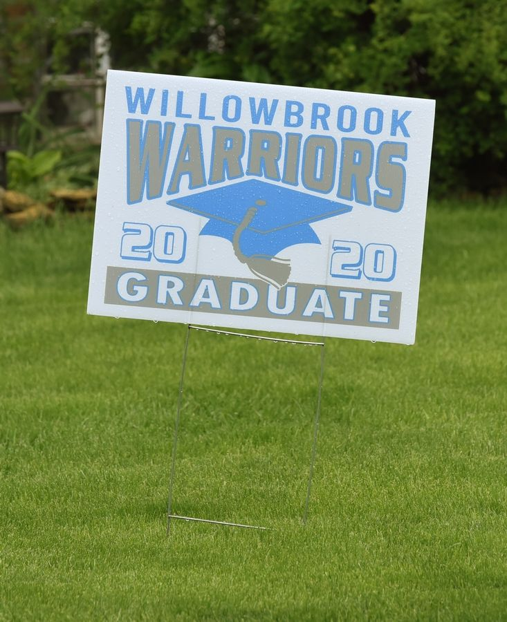Willowbrook High School 2020 graduation sign in Villa Park.