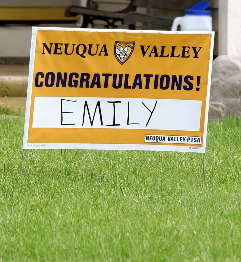 Neuqua Valley High School 2020 graduation sign in Naperville.