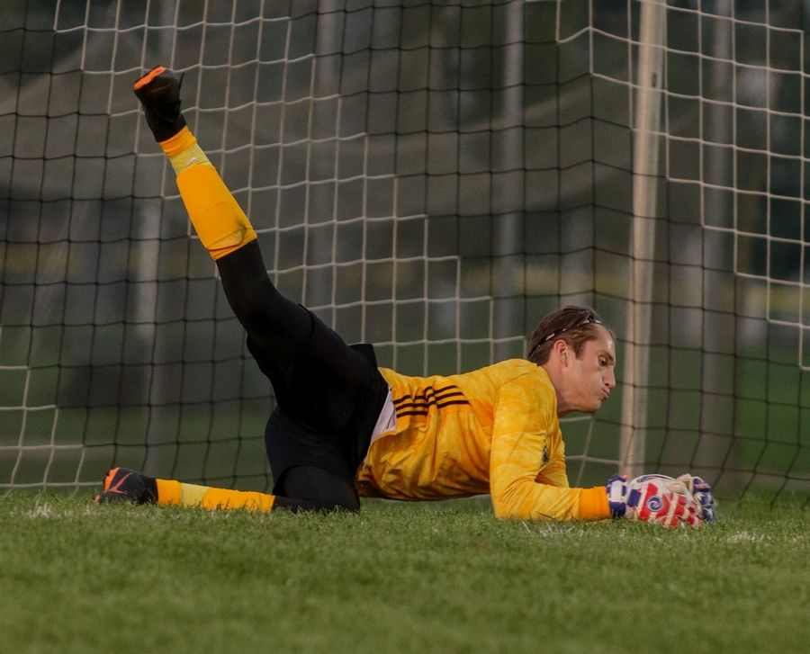 Neuqua Valley goalkeeper Luke Molnar makes a save against Waubonsie Valley during boys soccer in Aurora.