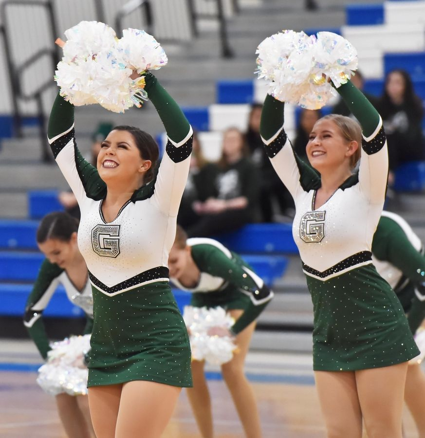 Grayslake Central uses poms in their performance at the Bear Invitational high school dance competition at Lake Zurich High School.