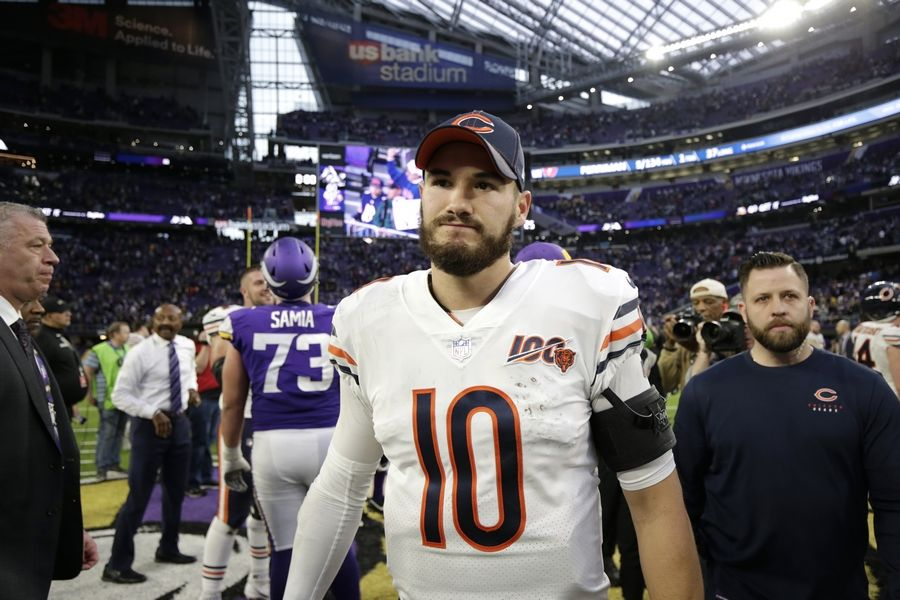 Chicago Bears quarterback Mitchell Trubisky walks off the field after an NFL football game against the Minnesota Vikings, Sunday, Dec. 29, 2019, in Minneapolis. The Bears won 21-19.