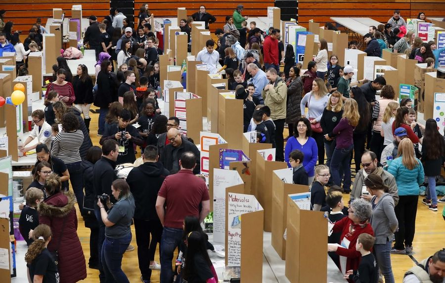 Students from across Elgin Area School District U-46 embraced the subjects of science, technology, engineering, and mathematics during the 12th annual STEM Expo at Streamwood High School in February.