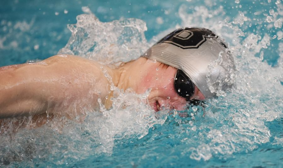 Barrington's Jack Hoppe swims the 200-yard freestyle during the Stevenson boys swimming sectional in Lincolnshire.