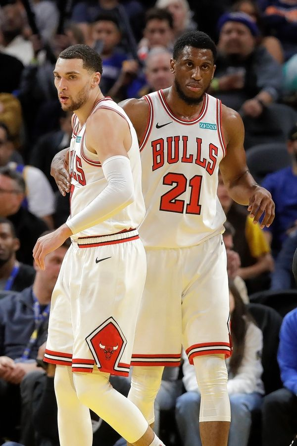 Chicago Bulls guard Zach LaVine, left, and forward Thaddeus Young (21) against the Golden State Warriors during an NBA basketball game in San Francisco, Wednesday, Nov. 27, 2019.