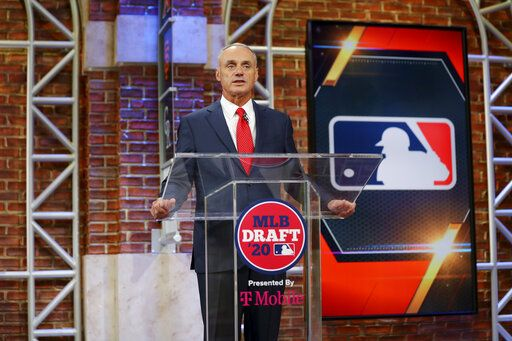 Baseball Commissioner Robert D. Manfred Jr. makes an opening statement during the baseball draft Wednesday, June 10, 2020 in Secaucus, N.J. (Alex Trautwig/MLB Photos via AP)
