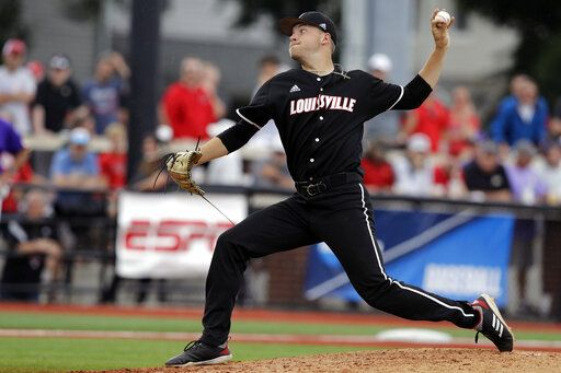 FILE - In this June 7, 2019, file photo, Louisville's Reid Detmers throws during the sixth inning in Game 1 of an NCAA college baseball super regional tournament against East Carolina, in Louisville, Ky. Detmers is expected to be an early selection in the Major League Baseball draft.
