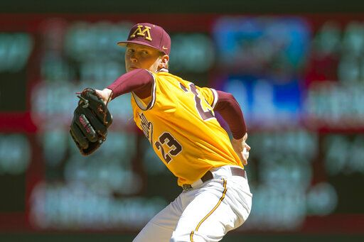 FILE - In this April 20, 2019, file photo, Minnesota pitcher Max Meyer throws against Oklahoma during an NCAA college baseball game, in Minneapolis. Meyer is expected to be an early selection in the Major League Baseball draft.