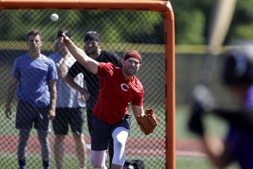 Cincinnati Reds pitcher Justin Shafer throws during a workout at Grand Park, Friday, June 12, 2020, in Westfield, Ind. Proceeds from the event will go to Reviving Baseball in the Inner City of Indianapolis.