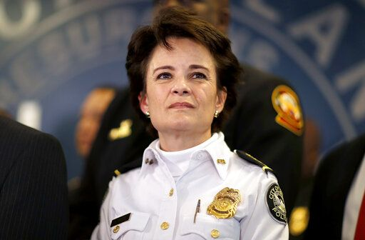 FILE - In this Thursday, Jan. 4, 2018, file photo, Atlanta Police Chief Erika Shields attends a news conference in Atlanta. On Saturday, June 13, 2020, Atlanta Mayor Keisha Lance Bottoms announced that Shields is resigning after an officer fatally shot a man who snatched an officer's Taser and ran after a struggle in a restaurant parking lot.
