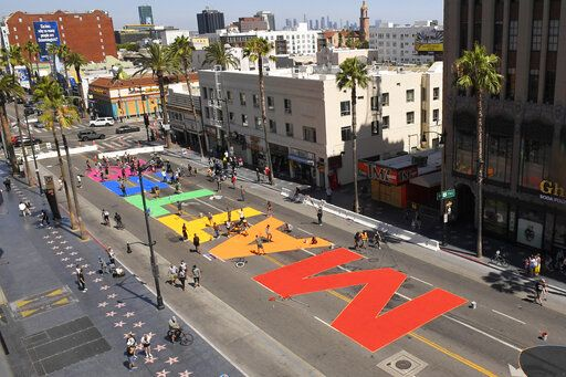 """ALL BLACK LIVES MATTER"" is painted on Hollywood Boulevard near the famed Chinese and Dolby theatres, Saturday, June 13, 2020, in the Hollywood section of Los Angeles."