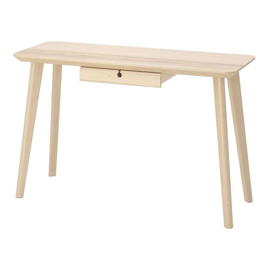 The ash and birch Lisabo desk at $149 makes for a nice space-saving desk that is sized perfectly for a laptop.