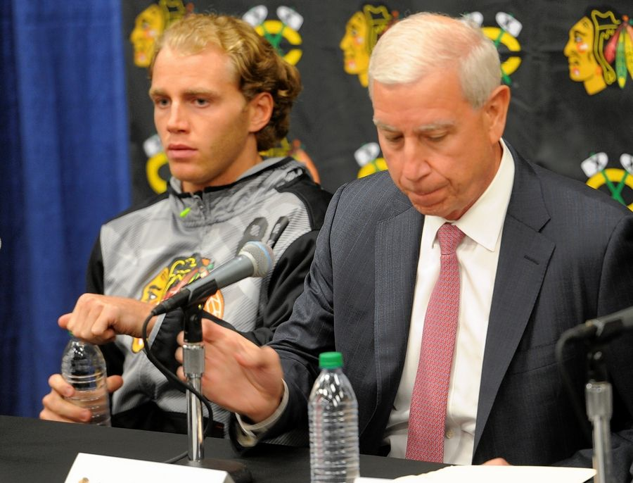"Chicago Blackhawks Patrick Kane, left, had a special relationship with former team president John McDonough. ""He had some tough conversations with me, for sure. That helped me become a better player, a better person, to mature a little faster than maybe I would have,"" Kane said."