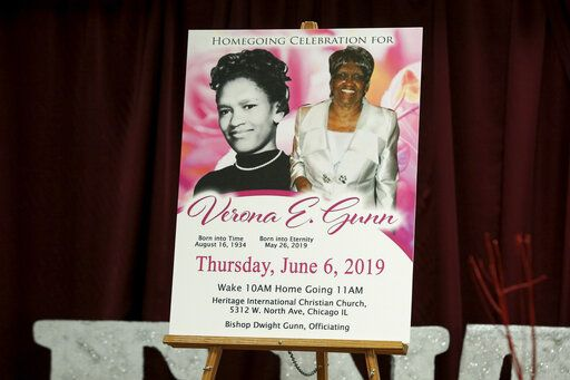 FILE - This June 11, 2019 file photo of a poster showing Verona Gunn is displayed during a press conference in Chicago.. Verona Gunn was an 84-year-old woman killed last May when two Chicago Police vehicles slammed into a car she was riding in. Crashes involving Chicago police vehicles that killed Gunn and a young mother last week, highlight the dangers of police speeding to crime scenes or during car chases.