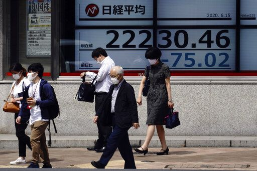 People walk past an electronic stock board showing Japan's Nikkei 225 index at a securities firm in Tokyo Monday, June 15, 2020. Asian shares were mostly lower Monday on concern over a resurgence of coronavirus cases and pessimism after Wall Street posted its worst week in nearly three months.