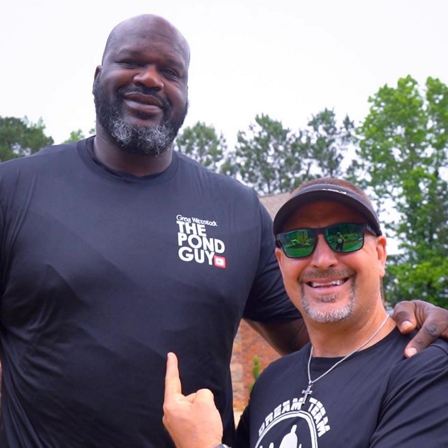Greg Wittstock, founder and CEO of Aquascape Inc., worked with team members and partners to install a custom water feature in the front yard of Shaquille O'Neal's Atlanta home.